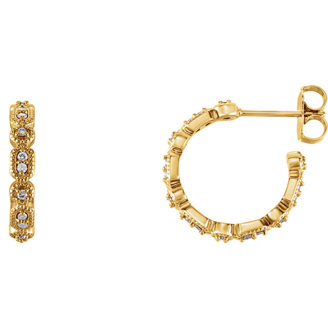 Wonderful 14 Karat Yellow Gold 0.17 Carat Total Weight Diamond Granulated J-Hoop Earrings