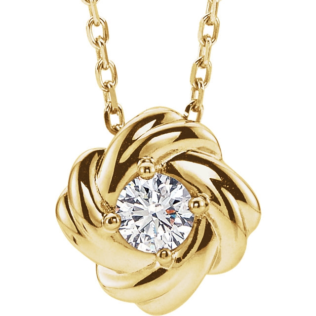 14 Karat Yellow Gold 0.17 Carat Diamond Knot 16-18