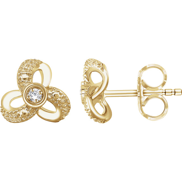 Great Gift in 14 Karat Yellow Gold 0.17 Carat Total Weight Diamond Knot Earrings