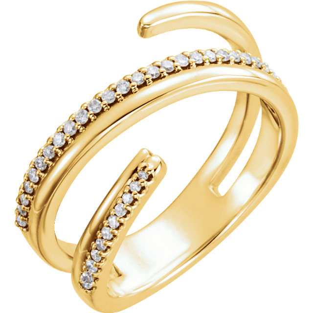 Eye Catching 14 Karat Yellow Gold 1/6 Carat Total Weight Round Genuine Diamond Negative Space Ring
