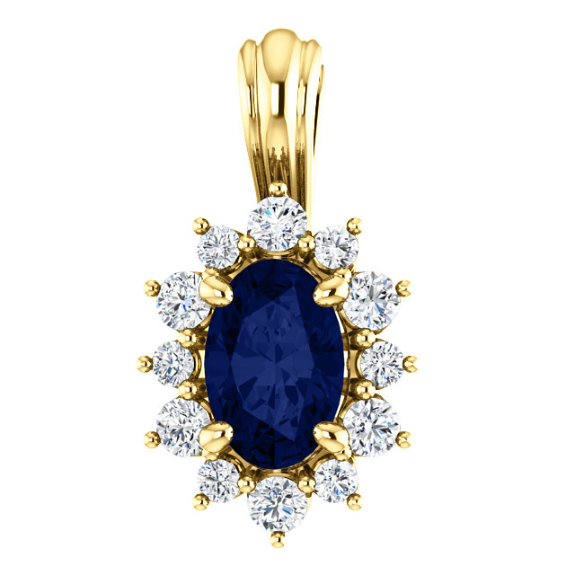 Perfect Jewelry Gift 14 Karat Yellow Gold 0.17 Carat Total Weight Diamond & Sapphire Pendant