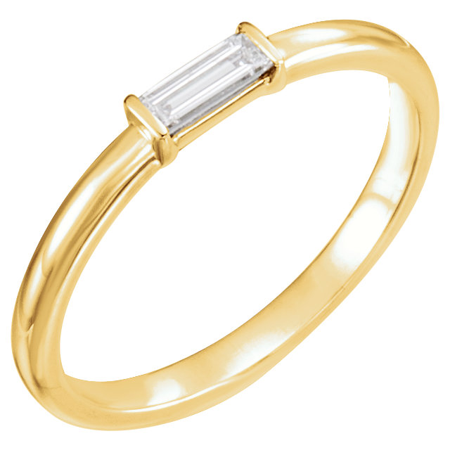 Appealing Jewelry in 14 Karat Yellow Gold 0.17 Carat Total Weight Diamond Stackable Ring