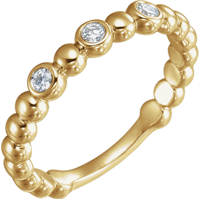 14 KT Yellow Gold 0.12 Carat TW Diamond Beaded Ring