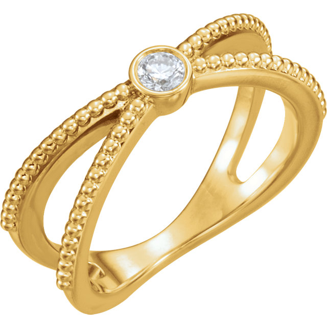 Fine 14 KT Yellow Gold 0.12 Carat TW Diamond Bezel-Set Beaded Ring