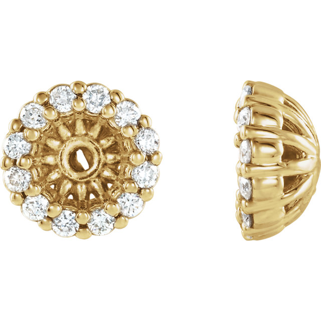 Quality 14 KT Yellow Gold 0.12 Carat TW Diamond Cluster Earring Jackets