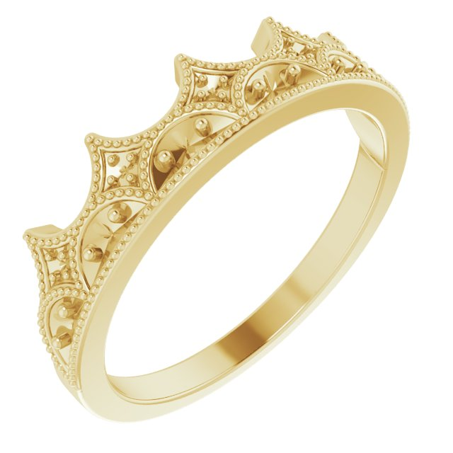 White Diamond Ring in 14 Karat Yellow Gold 0.12 Carat Diamond Crown Ring