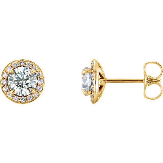 Easy Gift in 14 Karat Yellow Gold 0.12 Carat Total Weight Diamond Halo-Style Earrings