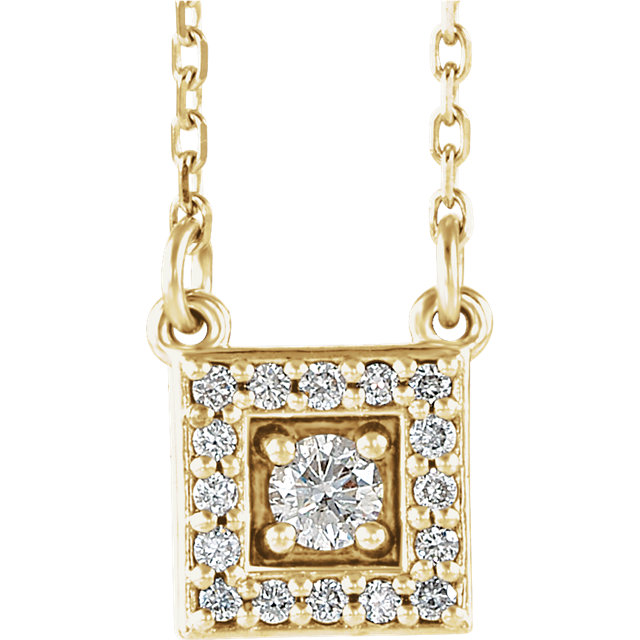 Great Buy in 14 Karat Yellow Gold 0.12 Carat Total Weight Diamond Halo-Style Square 16-18