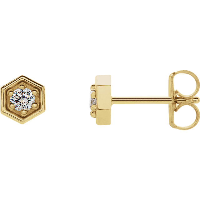 Very Nice 14 Karat Yellow Gold 0.12 Carat Total Weight Diamond Hexagon Stud Earrings