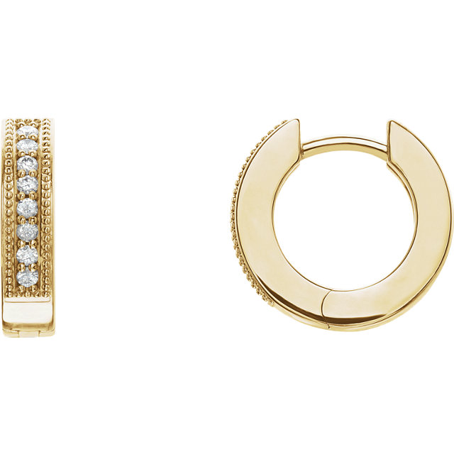 Fine Quality 14 Karat Yellow Gold 0.12 Carat Total Weight Diamond Hoop Earrings with Milgrain