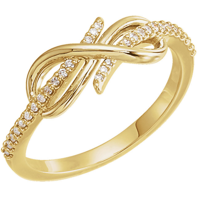 Perfect Gift Idea in 14 Karat Yellow Gold 0.12 Carat Total Weight Diamond Infinity-Inspired Ring
