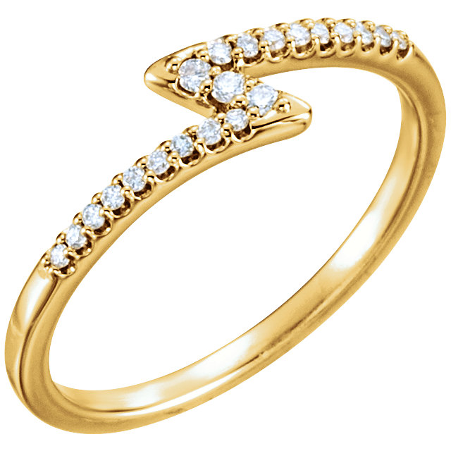 Fine 14 KT Yellow Gold 0.12 Carat TW Diamond Stackable Ring