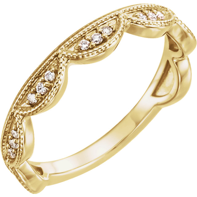Gorgeous 14 Karat Yellow Gold 0.12 Carat Total Weight Diamond Stackable Ring