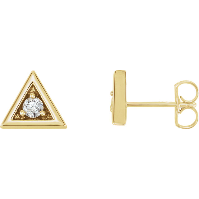 Fine Quality 14 Karat Yellow Gold 0.12 Carat Total Weight Diamond Triangle Earrings