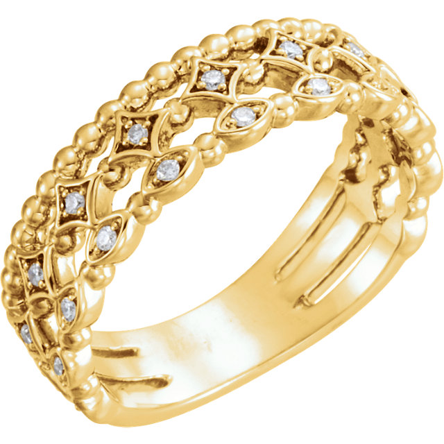 Genuine 14 KT Yellow Gold 0.12 Carat TW Stackable Diamond Ring