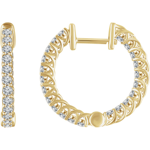 Easy Gift in 14 Karat Yellow Gold 1 Carat Total Weight Diamond Hoop Earrings