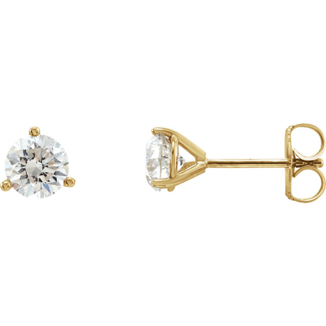Perfect Jewelry Gift 14 Karat Yellow Gold 1 Carat Diamond Stud Earrings