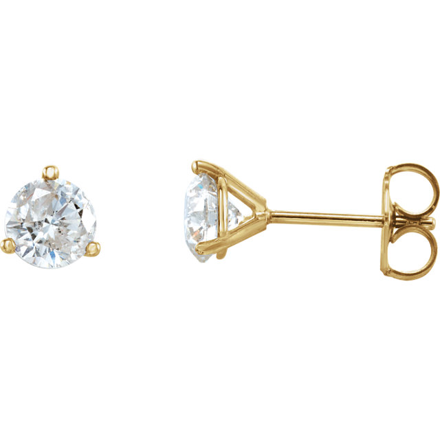 Appealing Jewelry in 14 Karat Yellow Gold 1 Carat Diamond Stud Earrings
