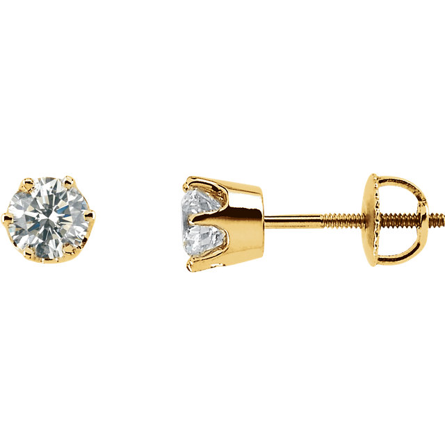 Very Nice 14 Karat Yellow Gold 1 Carat Total Weight Diamond Threaded Post Stud Earrings