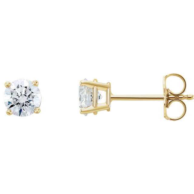 Gorgeous 14 Karat Yellow Gold 1 Carat Total Weight Lab-Grown Diamond Stud Earrings
