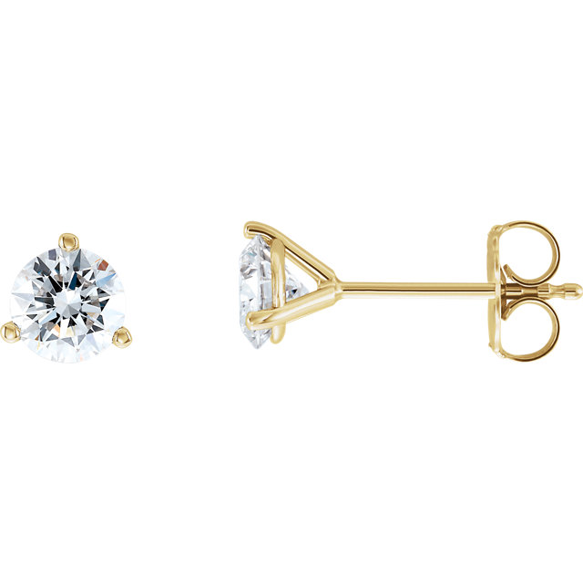 Great Gift in 14 Karat Yellow Gold 1 Carat Total Weight Lab-Grown Diamond Stud Earrings