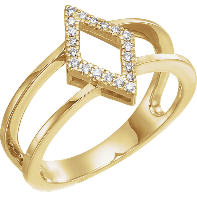 Genuine  14 KT Yellow Gold .10 Carat TW Geometric Diamond Ring