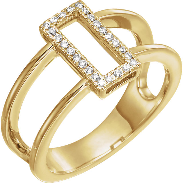 Genuine 14 KT Yellow Gold .10 Carat TW ReCaratangle Geometric Diamond Ring