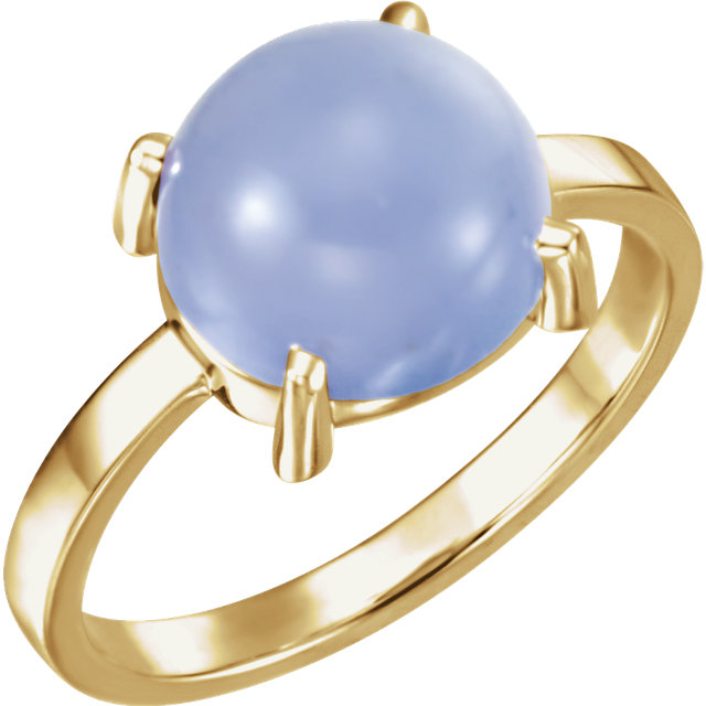 Genuine 14 KT Yellow Gold 10mm Round Blue Chalcedony Cabochon Ring