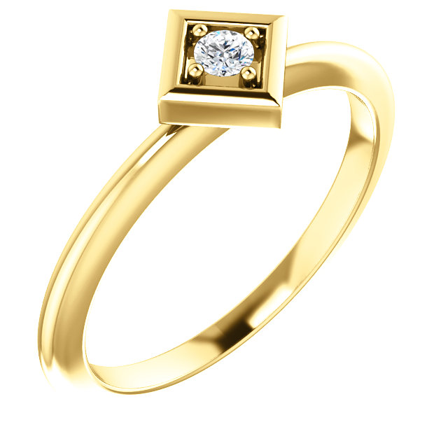 Must See 14 Karat Yellow Gold 2.5mm Round .06 Carat Total Weight Diamond Stackable Geometric Ring