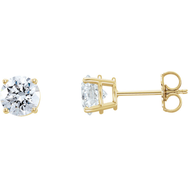 Gorgeous 14 Karat Yellow Gold 2 Carat Total Weight Lab-Grown Diamond Stud Earrings