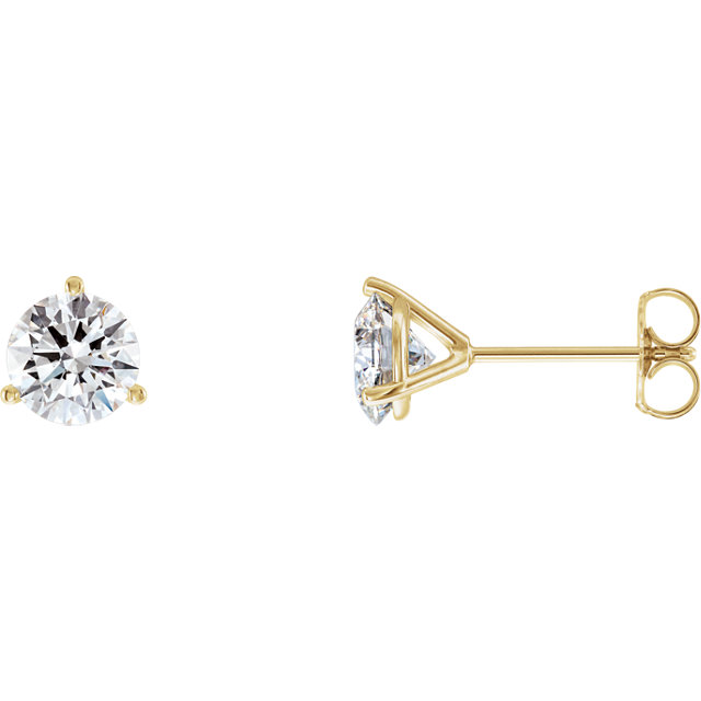 Great Gift in 14 Karat Yellow Gold 2 Carat Total Weight Lab-Grown Diamond Stud Earrings