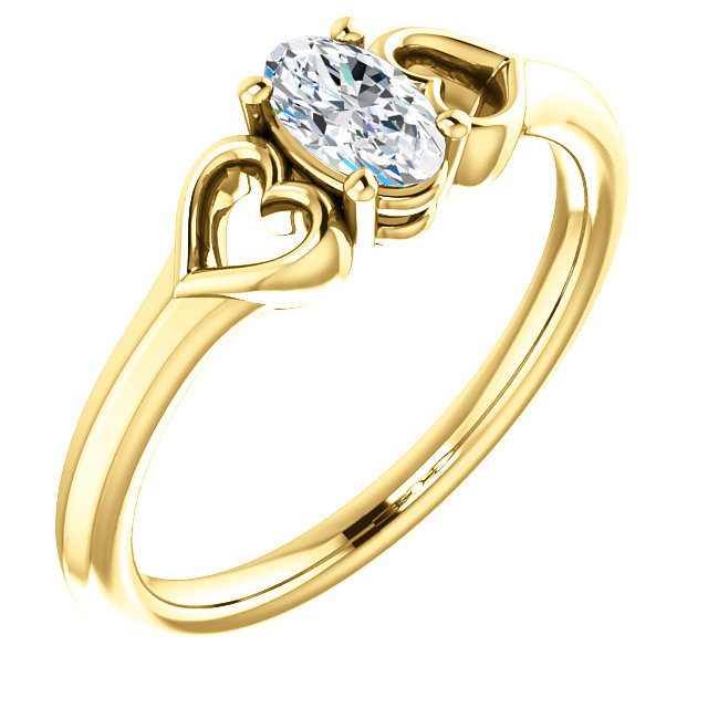 Low Price on Quality 14 KT Yellow Gold .25 Carat Diamond Youth Heart Ring