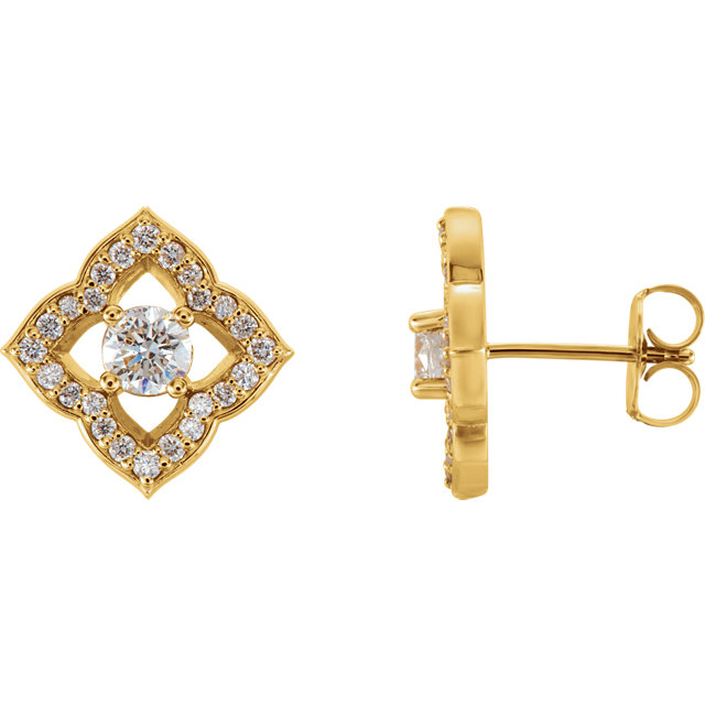 Perfect Gift Idea in 14 Karat Yellow Gold 0.75 Carat Total Weight Diamond Halo-Style Clover Earrings