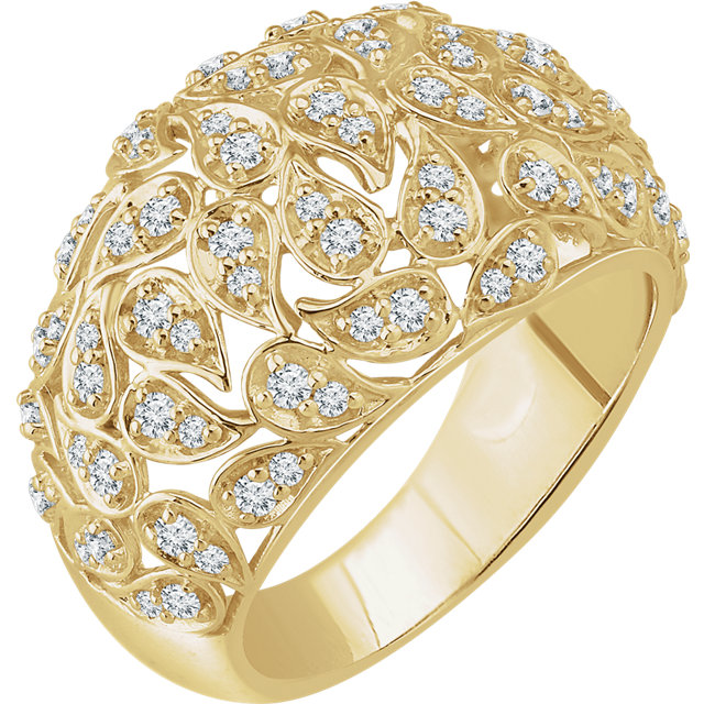 Perfect Jewelry Gift 14 Karat Yellow Gold 0.75 Carat Total Weight Diamond Leaf Ring