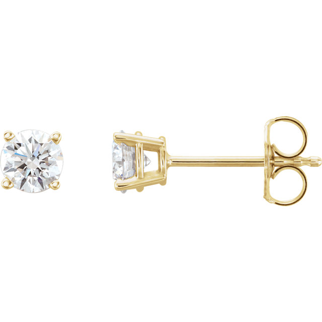 Great Gift in 14 Karat Yellow Gold 0.75 Carat Total Weight Lab-Grown Diamond Stud Earrings