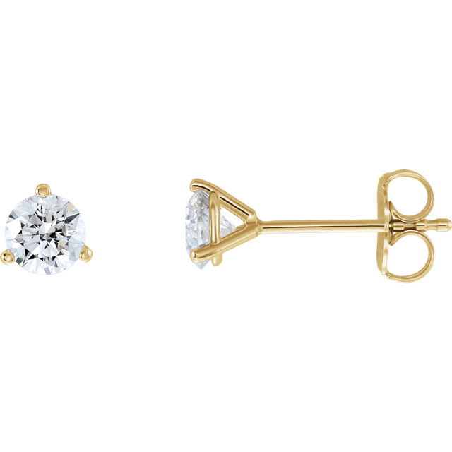 Must See 14 Karat Yellow Gold 0.75 Carat Total Weight Lab-Grown Diamond Stud Earrings