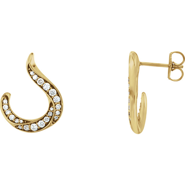 Low Price on 14 KT Yellow Gold 0.40 Carat TW Diamond Crescent Earrings