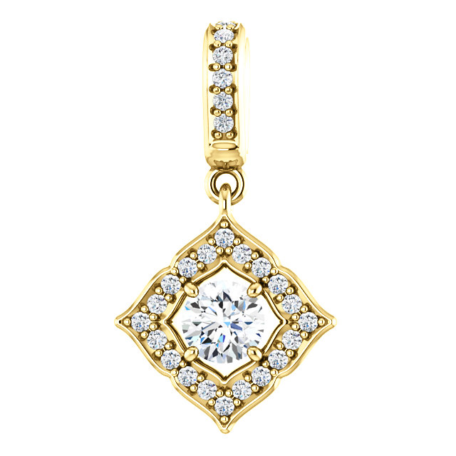 Great Buy in 14 KT Yellow Gold 0.40 Carat TW Diamond Halo-Style Clover Pendant