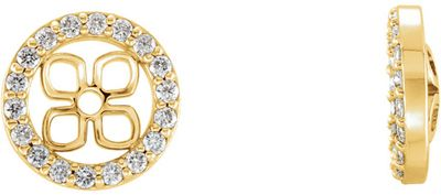 Perfect Jewelry Gift 14 Karat Yellow Gold 0.40 Carat Total Weight Diamond Halo-Style Earring Jackets for Pearl