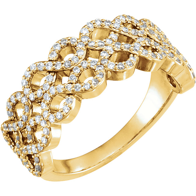 Perfect Gift Idea in 14 Karat Yellow Gold 0.40 Carat Total Weight Diamond Infinity-Inspired Ring