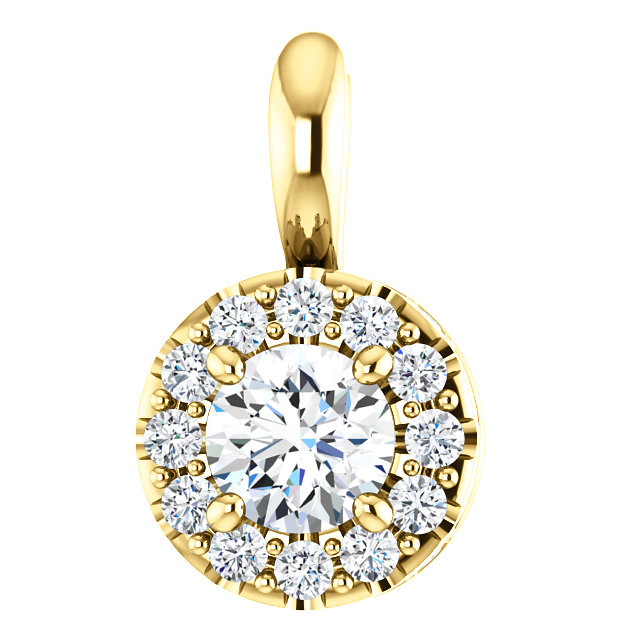 Perfect Jewelry Gift 14 Karat Yellow Gold 0.40 Carat Total Weight Diamond Pendant