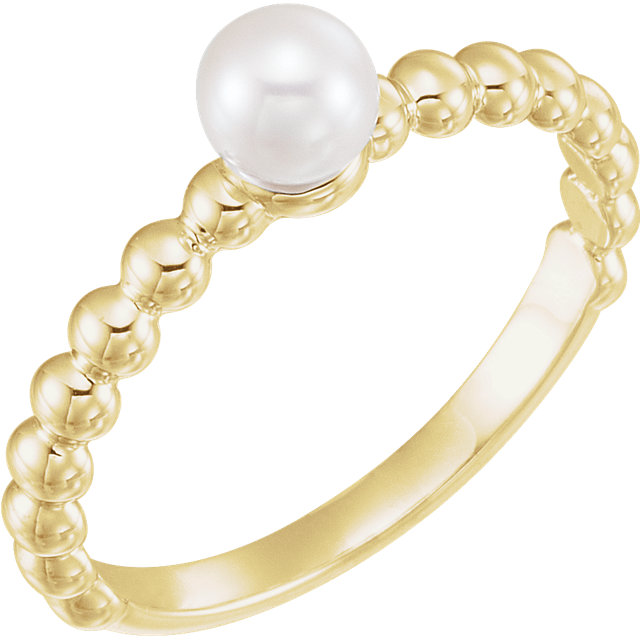 Great Deal in 14 Karat Yellow Gold 4.5-5mm Freshwater Cultured Pearl Ring