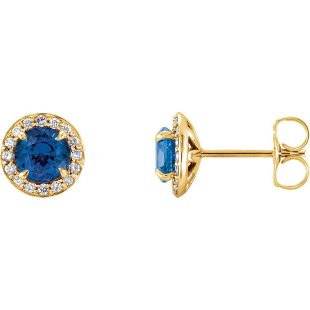Quality 14 KT Yellow Gold 4.5mm Round Genuine Chatham Created Created Blue Sapphire & 0.17 Carat TW Diamond Earrings