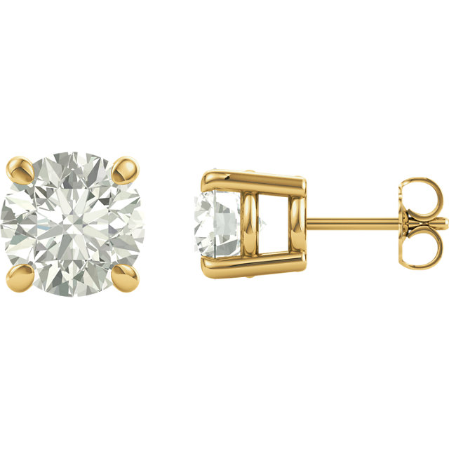 Very Nice 14 Karat Yellow Gold 4.5mm Round Genuine Charles Colvard Forever One Moissanite Earrings