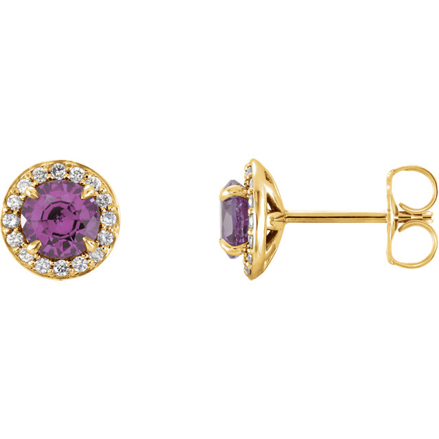 Contemporary 14 Karat Yellow Gold 4mm Round Amethyst & 0.12 Carat Total Weight Diamond Earrings