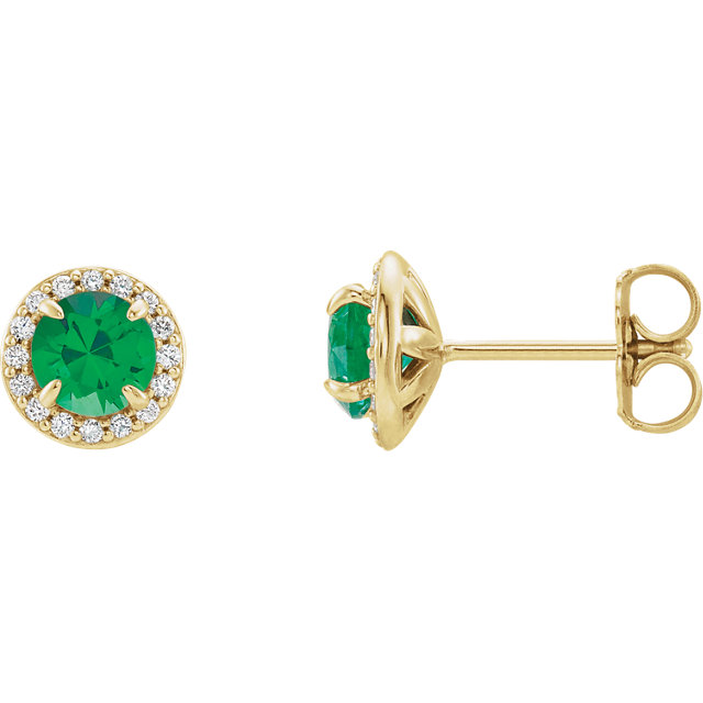 Eye Catchy 14 Karat Yellow Gold 4mm Round Genuine Chatham Created Created Emerald & 0.17 Carat Total Weight Diamond Earrings