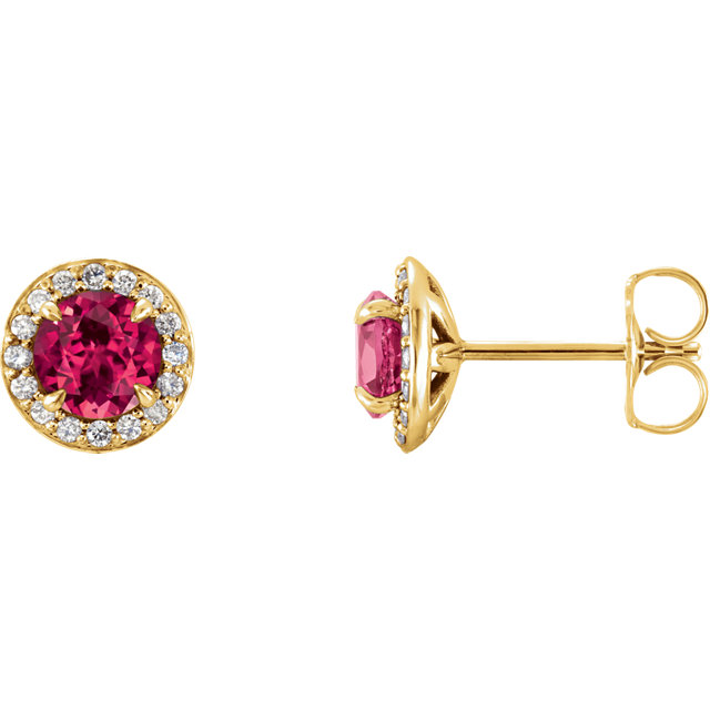 Great Gift in 14 Karat Yellow Gold 4mm Round Genuine Chatham Created Ruby & 0.12 Carat Total Weight Diamond Earrings