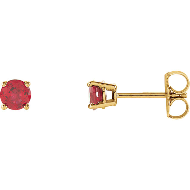 Must See 14 Karat Yellow Gold 4mm Round Genuine Chatham Created Created Ruby Earrings