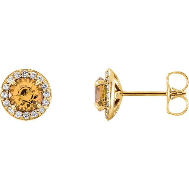 Must See 14 Karat Yellow Gold 4mm Round Citrine & 0.12 Carat Total Weight Diamond Earrings