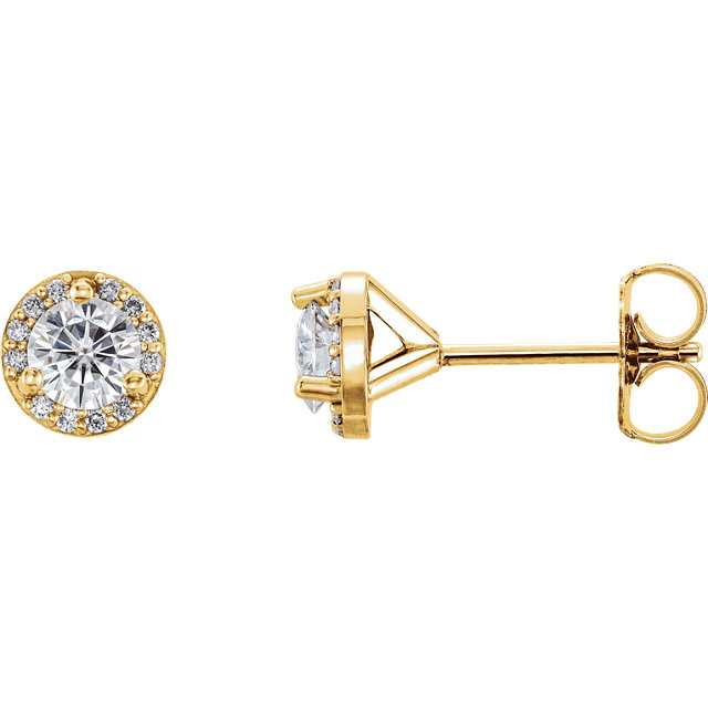 Fine Quality 14 Karat Yellow Gold 4mm Round Genuine Charles Colvard Forever One Moissanite & .07 Carat Total Weight Diamond Earrings